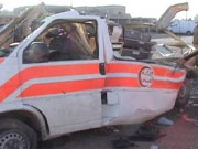 "Ambulance destoryed by US opertion ""Steel Curtain."" Photo by Sabah Ali"